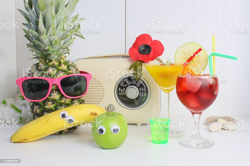 Fruit cocktail beach party stock photo