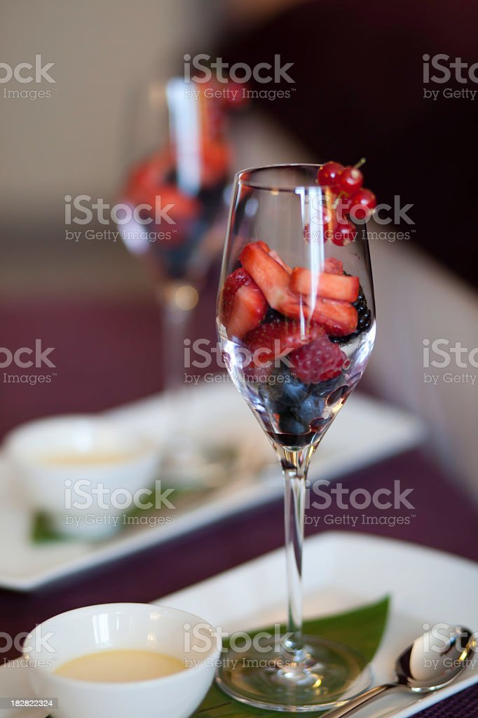 Fruit Cocktail celebrated in a Wine Glass stock photo