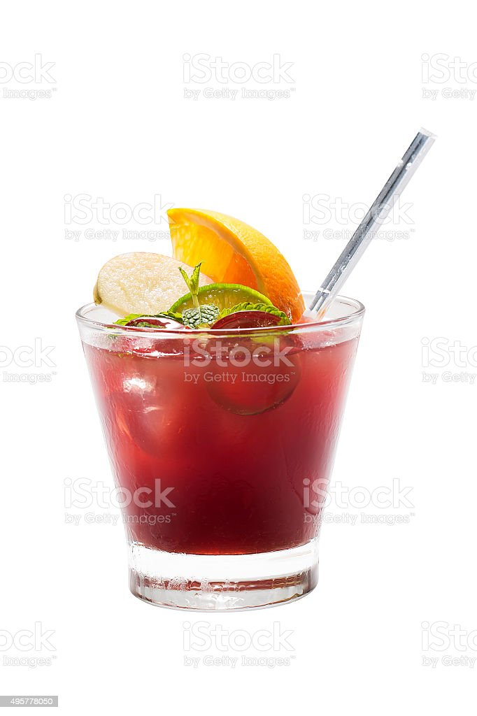Fruit cocktail isolated stock photo