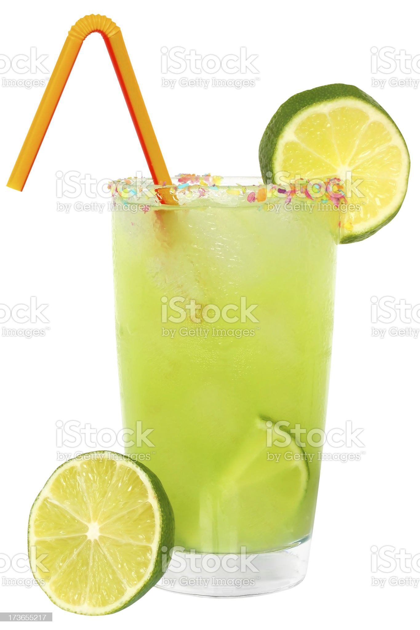 Fruit cocktail with lime and ice cubes. royalty-free stock photo