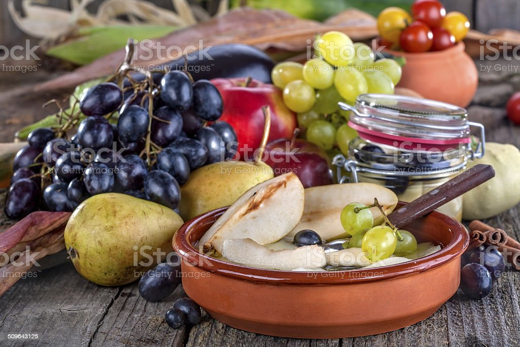 Fruit compote of pears stock photo