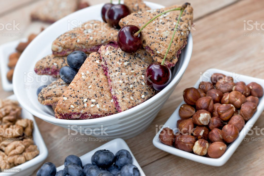Fruit cookie, biscuit (homemade) - wholemeal cookies stock photo