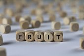 fruit - cube with letters, sign with wooden cubes