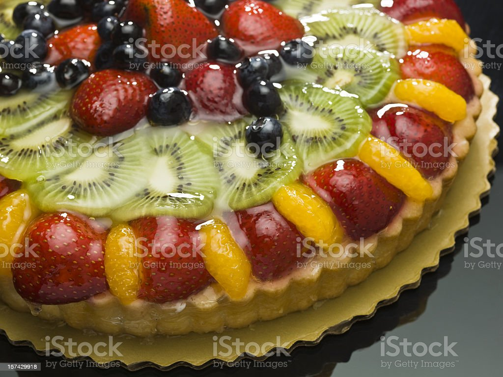 Fruit custard cake Close up stock photo
