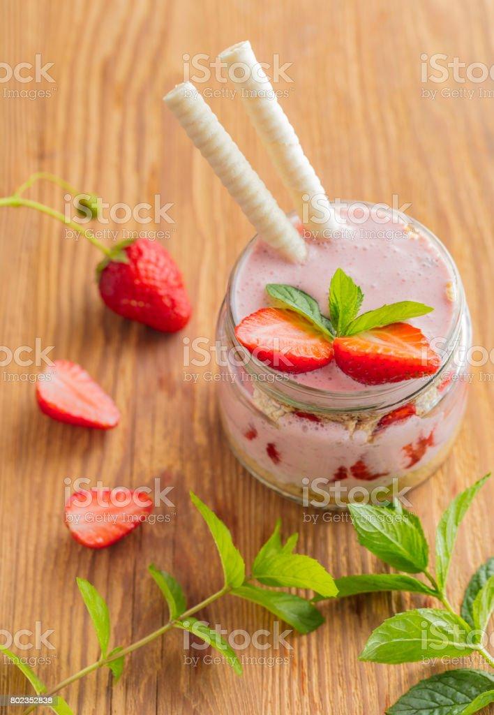 Fruit dessert in a jar stock photo