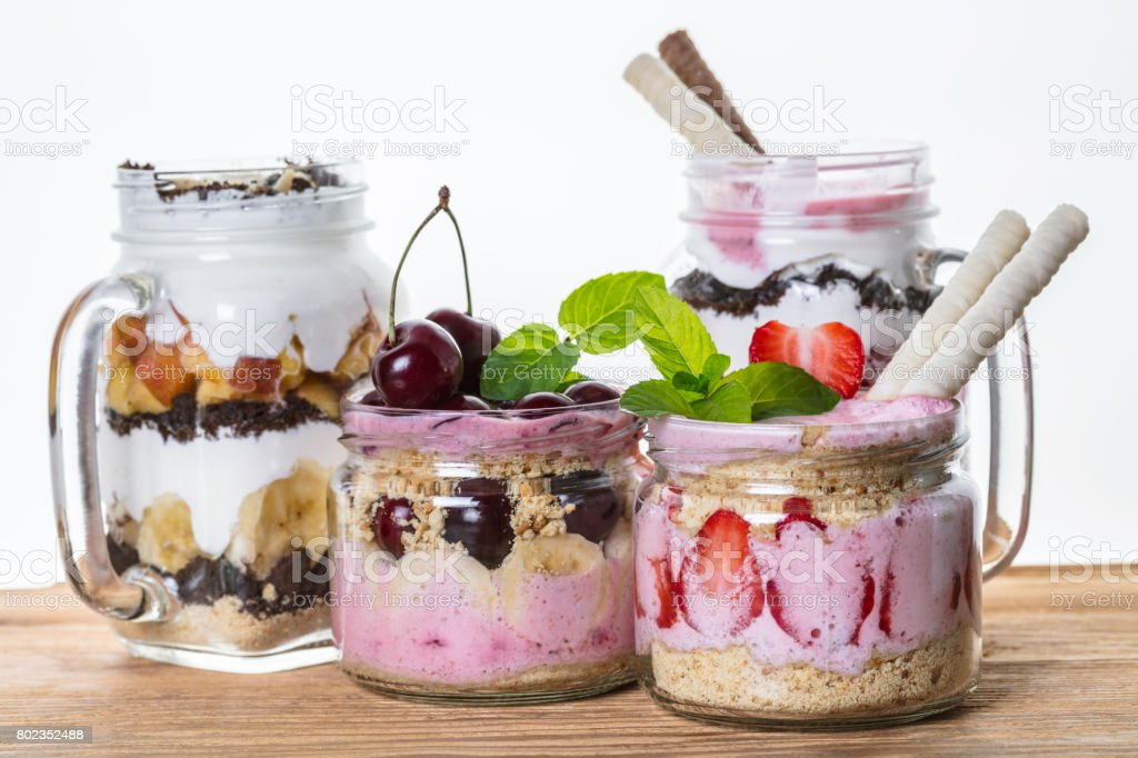 Fruit desserts in a jar stock photo