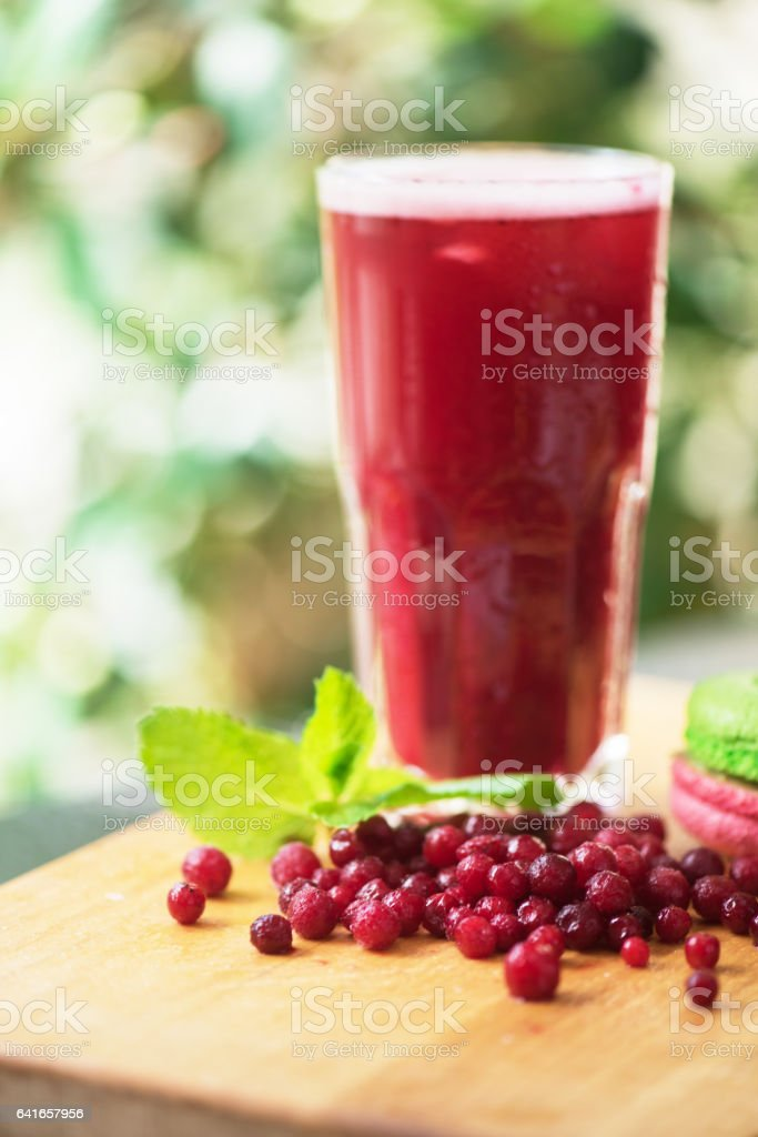 fruit drink with cranberries stock photo