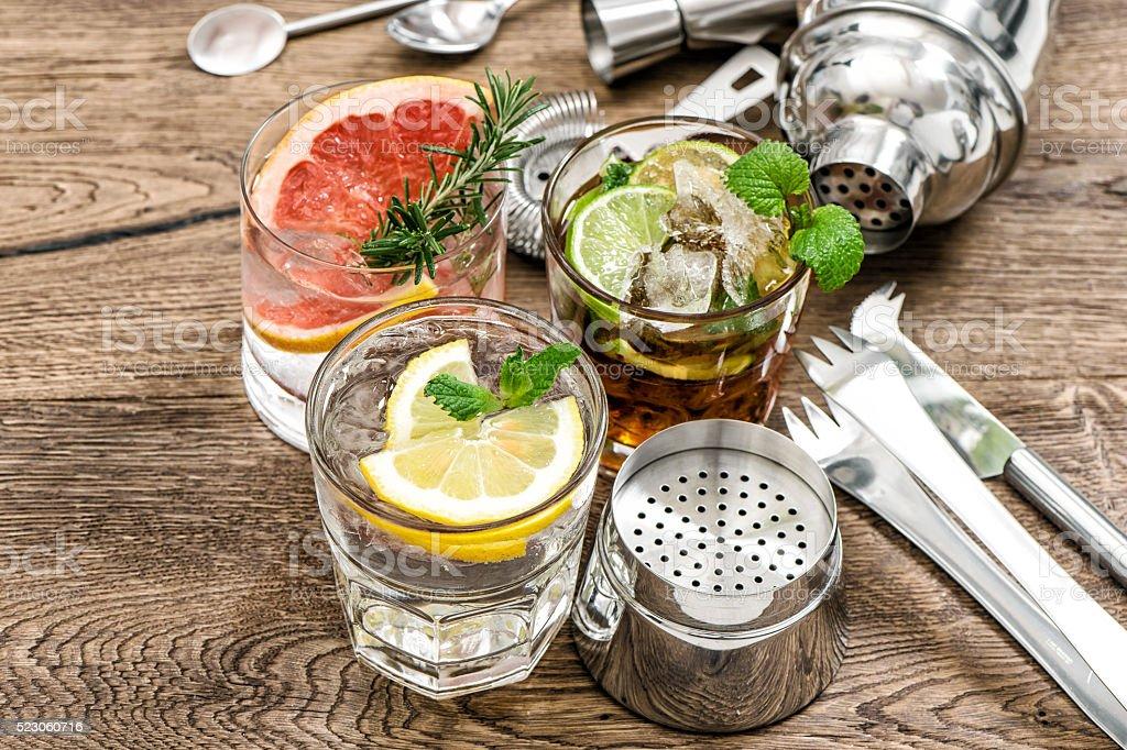 Fruit drinks Cocktail making bar tools, shaker, glasses stock photo