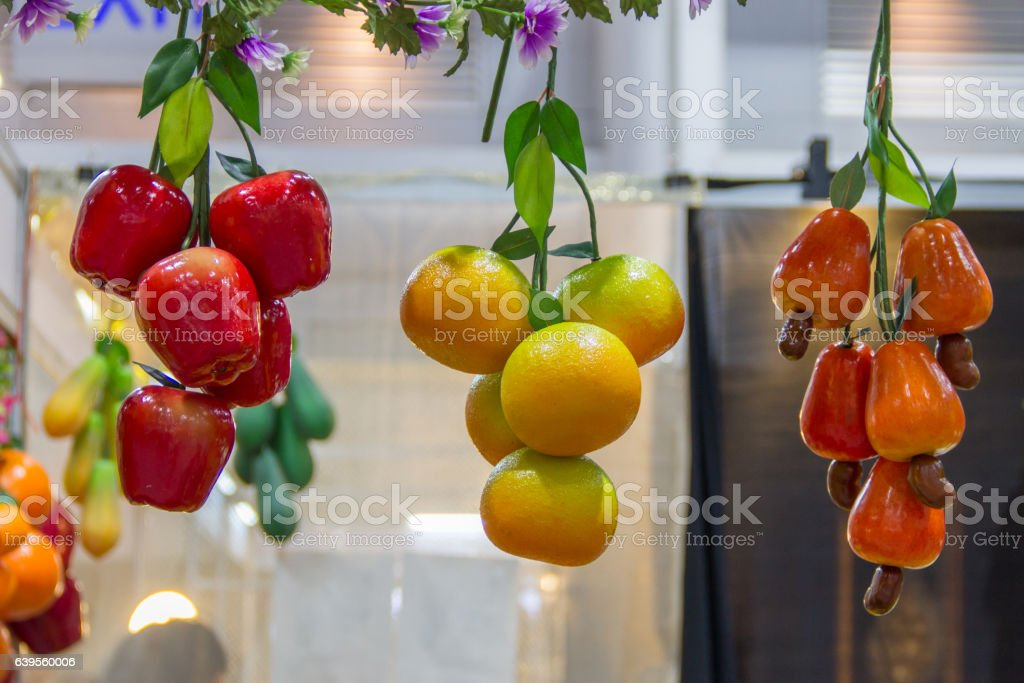 fruit fake hanging on stock photo