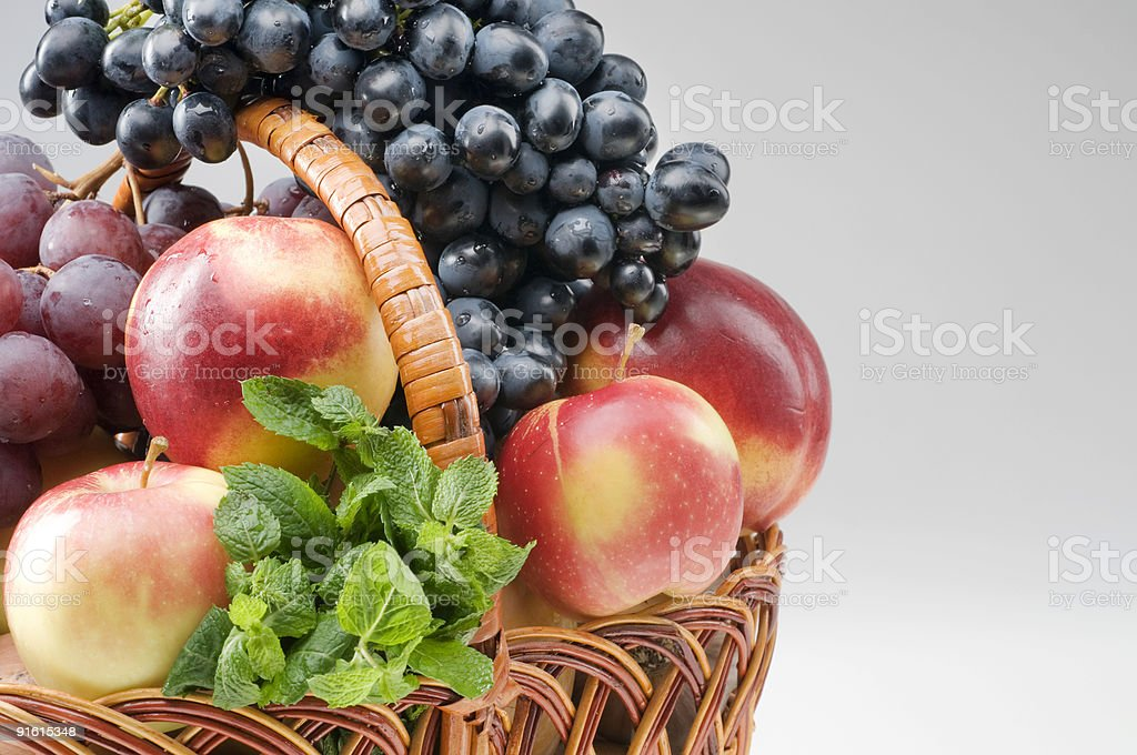 Fruit food objects in a basket royalty-free stock photo