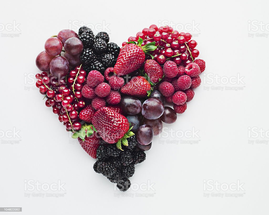 Fruit forming heart-shape stock photo