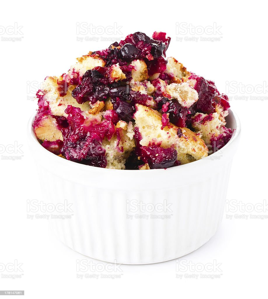Fruit fresh crumble dessert in a  bowl  isolated stock photo