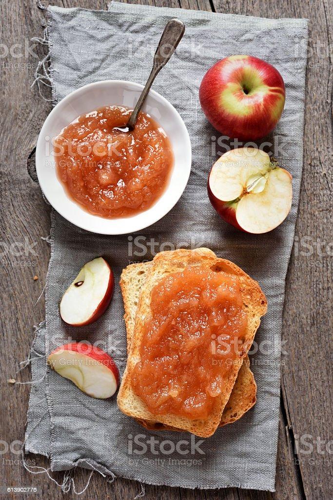 Fruit homemade apple jam stock photo