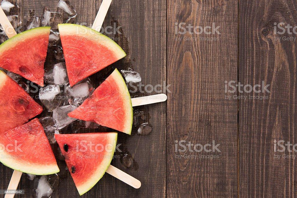 Fruit ice cream sliced watermelon on wooden background stock photo
