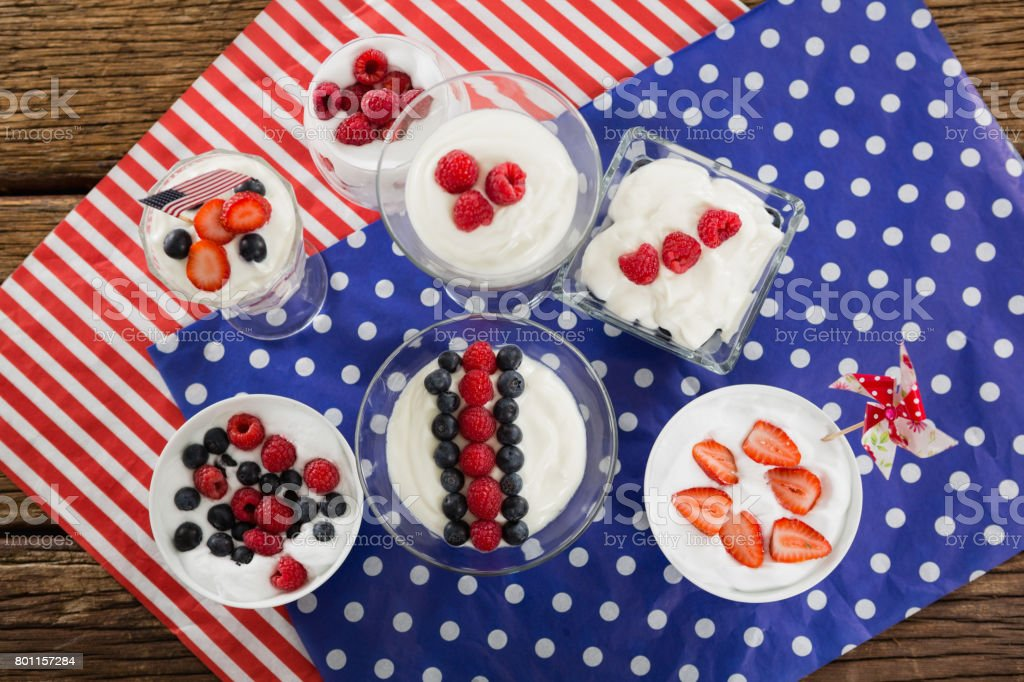 Fruit ice cream with 4th july theme stock photo