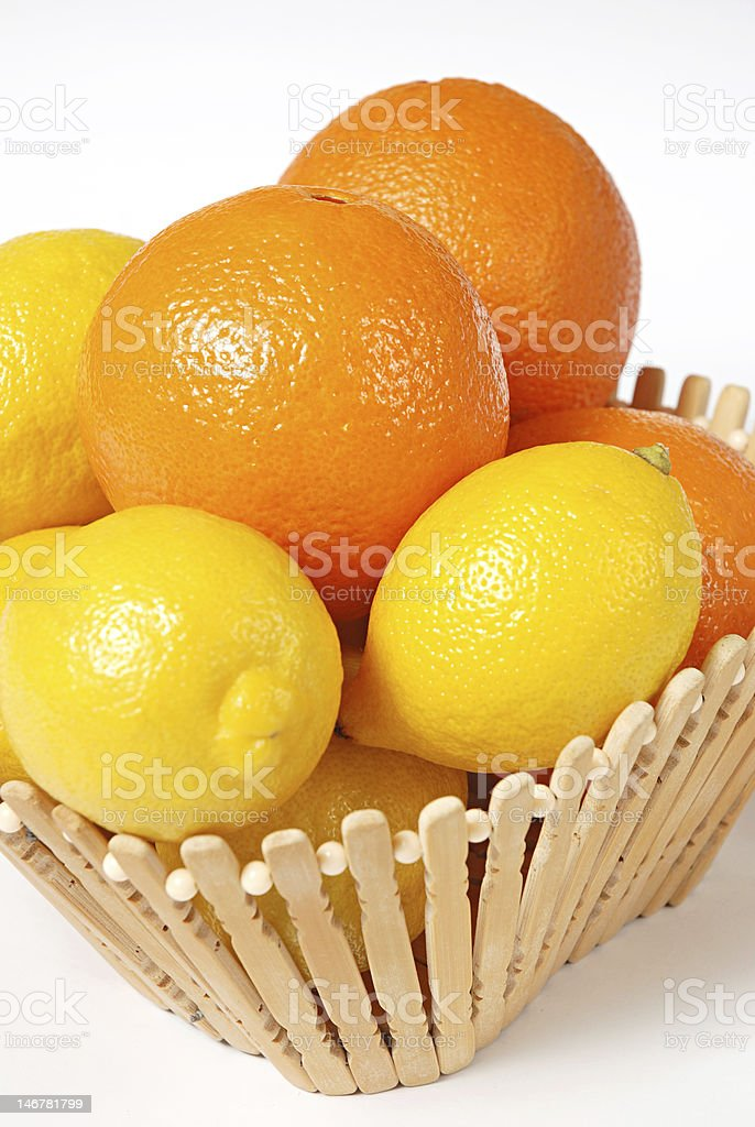 fruit in a basket royalty-free stock photo