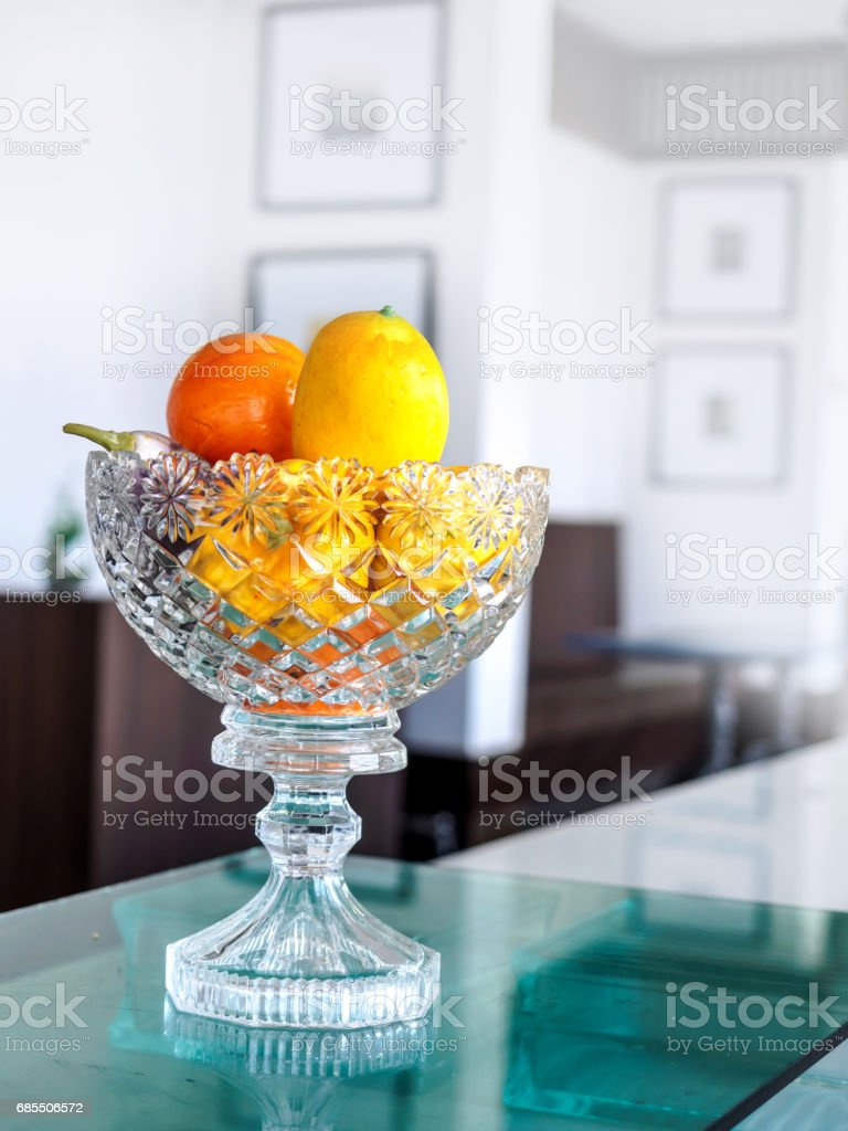 Fruit in a glass bowl stock photo