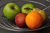 Fruit in a wire basket