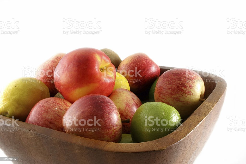 Fruit in Wooden Bowl stock photo