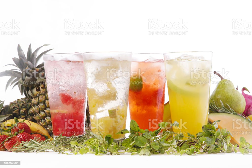Fruit infused iced water stock photo