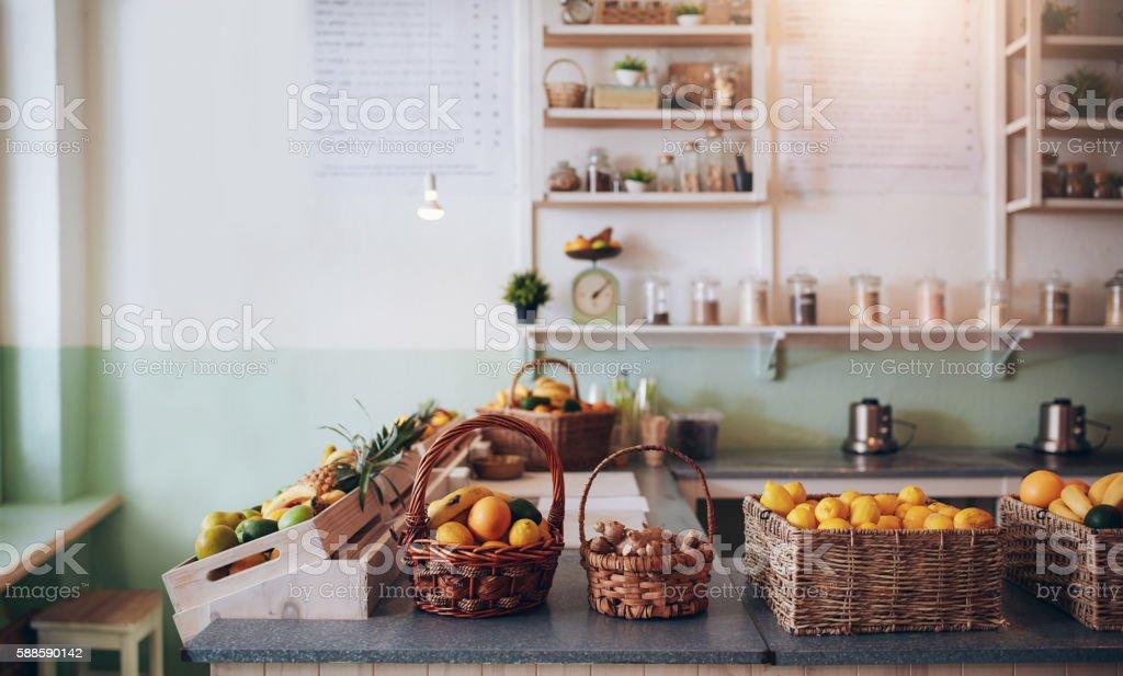 Fruit juice bar counter stock photo
