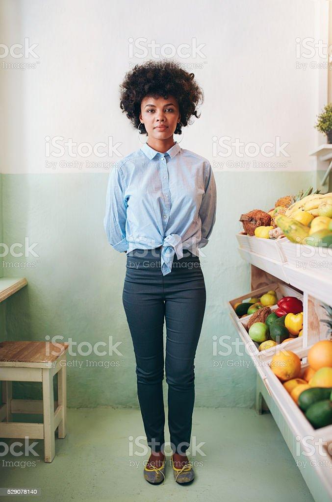 Fruit juice bar owner stock photo
