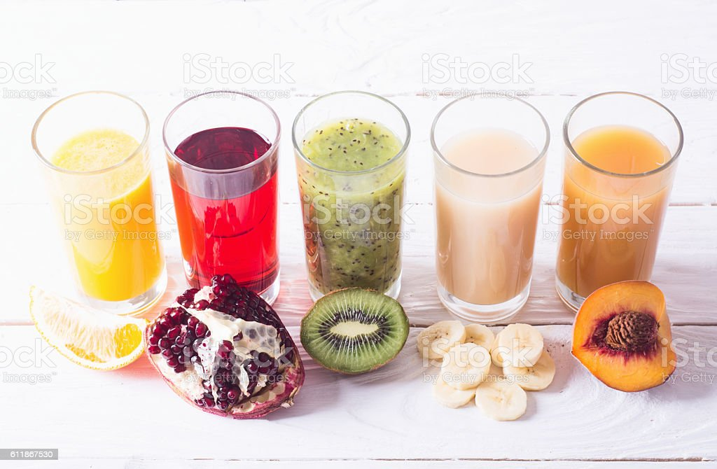 Fruit juice colection stock photo