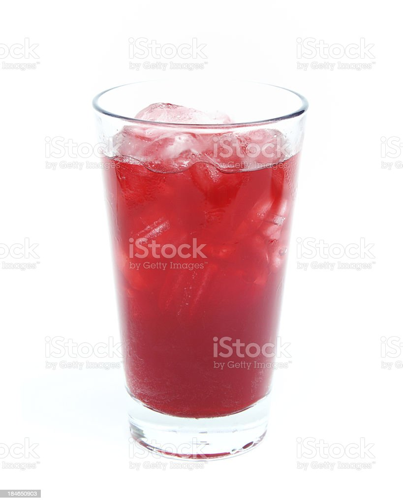 Fruit juice in glass with ice stock photo