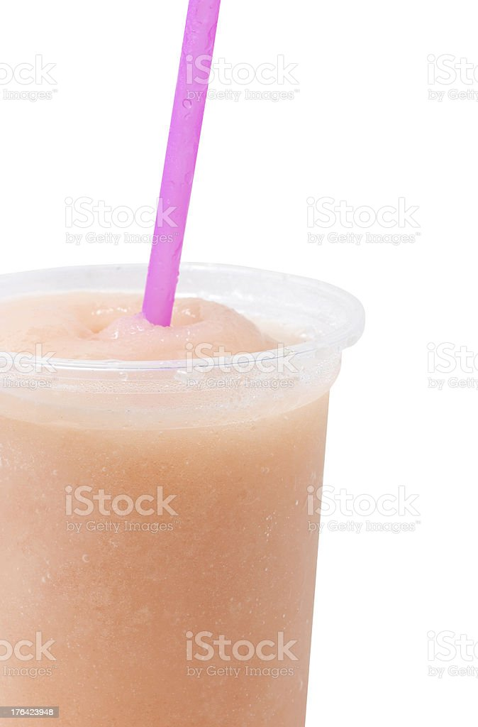 Fruit juice in plastic glass. royalty-free stock photo