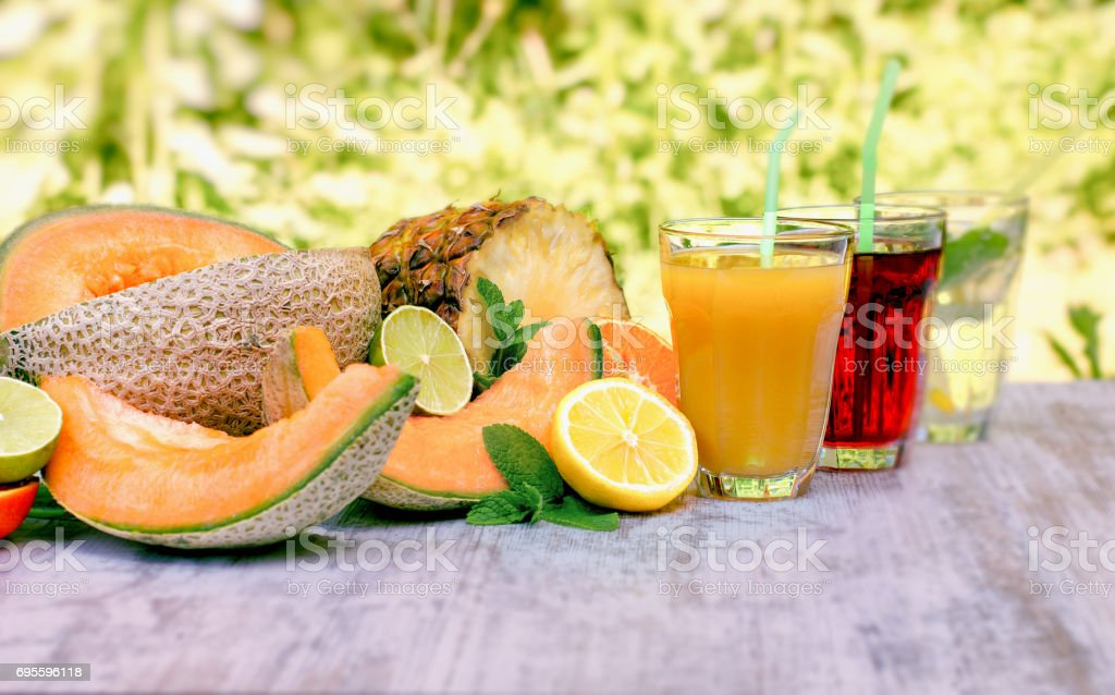 Fruit just squeezed, healthy and refreshing beverages stock photo