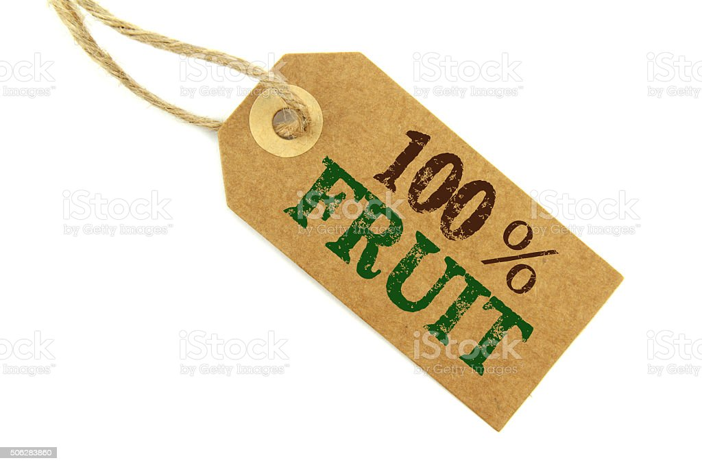 ' 100% Fruit ' label stock photo