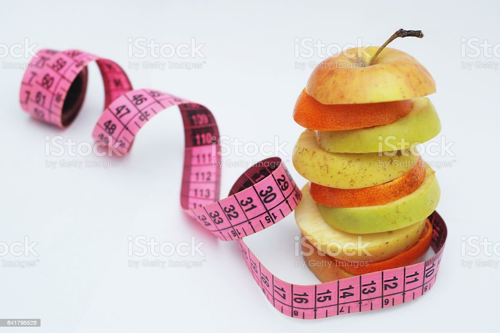 Fruit layers with meter on white background stock photo