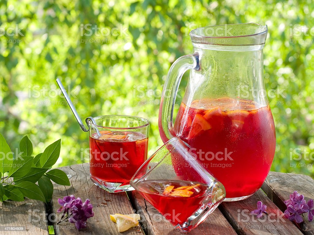 Fruit lemonade or Sangria royalty-free stock photo