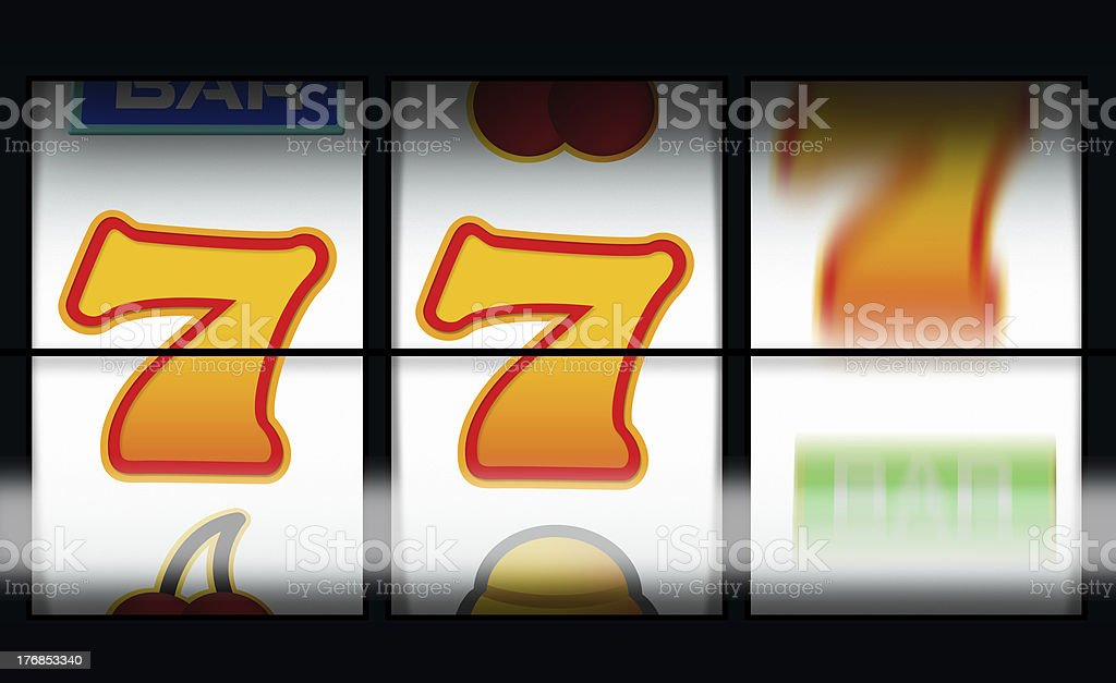 fruit machine gambling with last line still spinning royalty-free stock photo