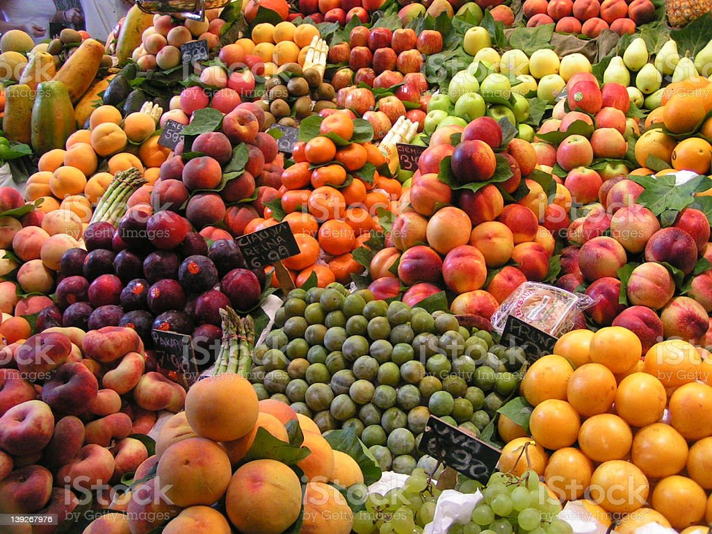 Fruit Market at Las Ramblas, Barcelona, Spain royalty-free stock photo