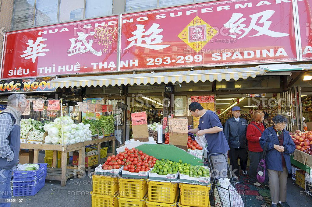 Fruit market in Chinatown, Toronto royalty-free stock photo