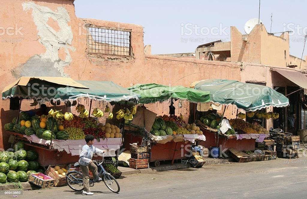 fruit market on a street in Marrakech, Morocco royalty-free stock photo