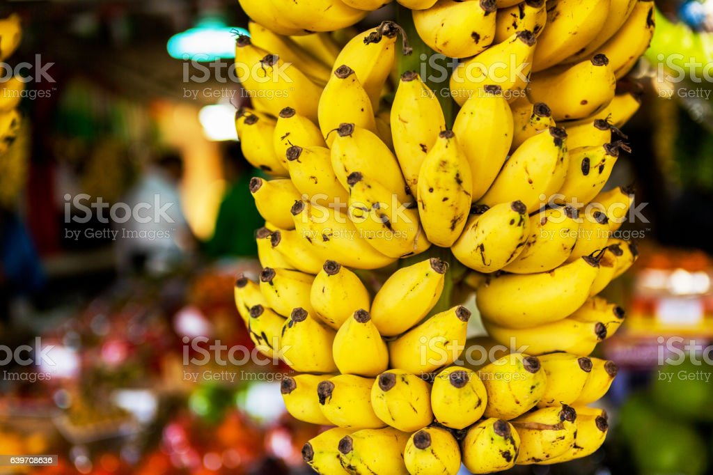 Fruit market with various colorful fruits stock photo