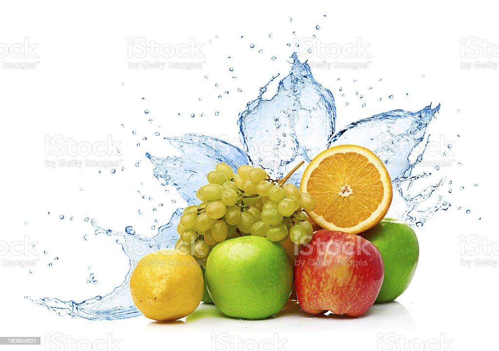 Fruit mix in water splash royalty-free stock photo
