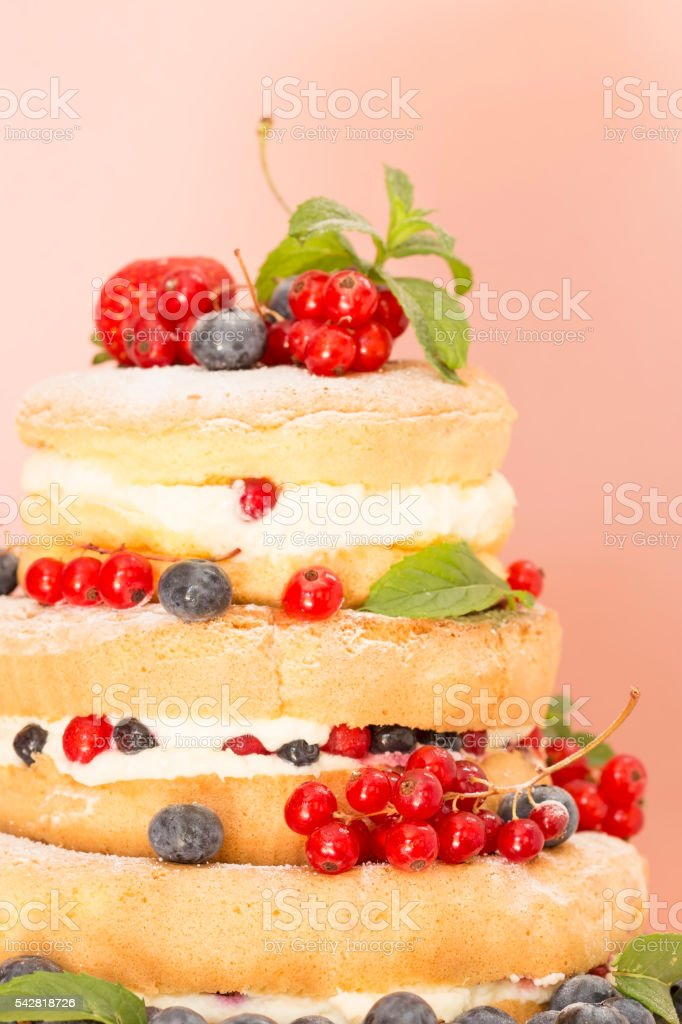 Fruit naked cake stock photo