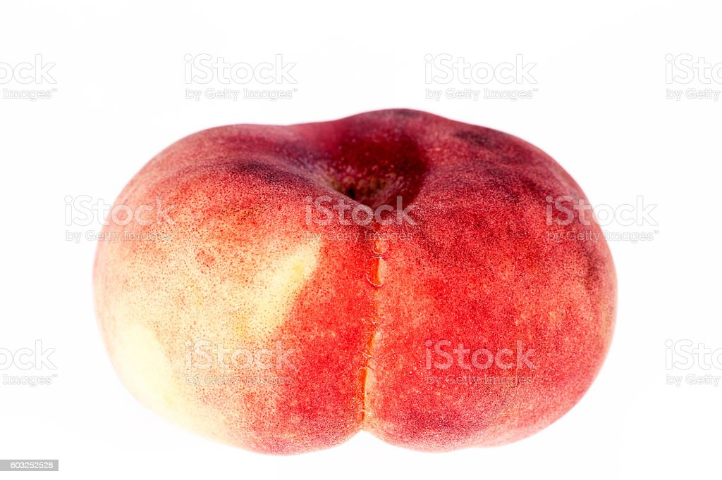 Fruit of Saturn Peach  ( Paraguayos ) on white background stock photo
