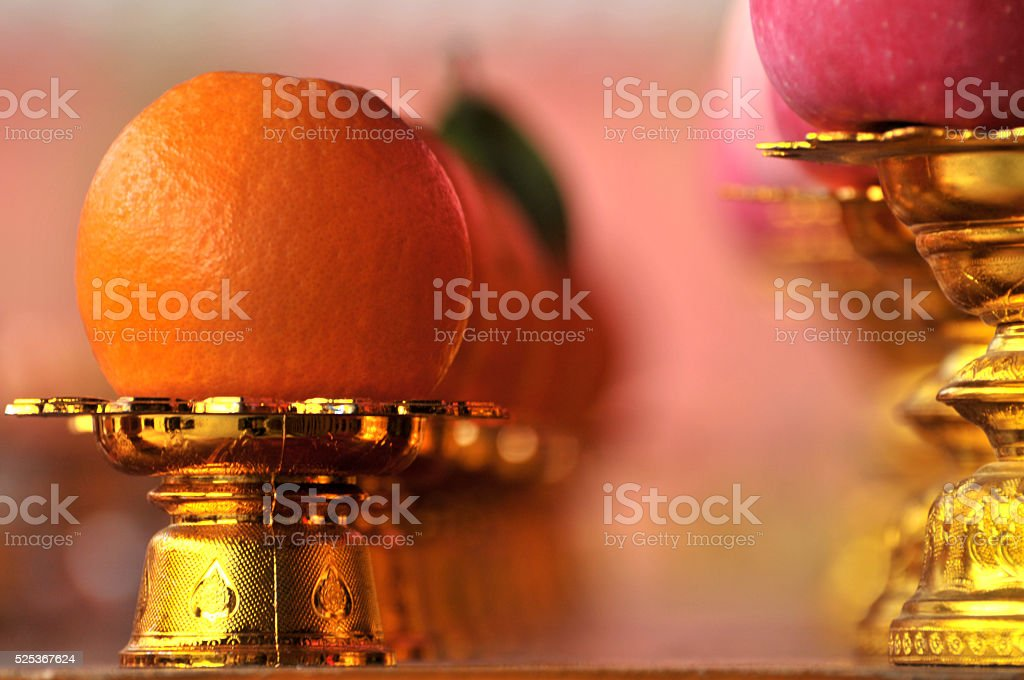 Fruit on offerings table stock photo