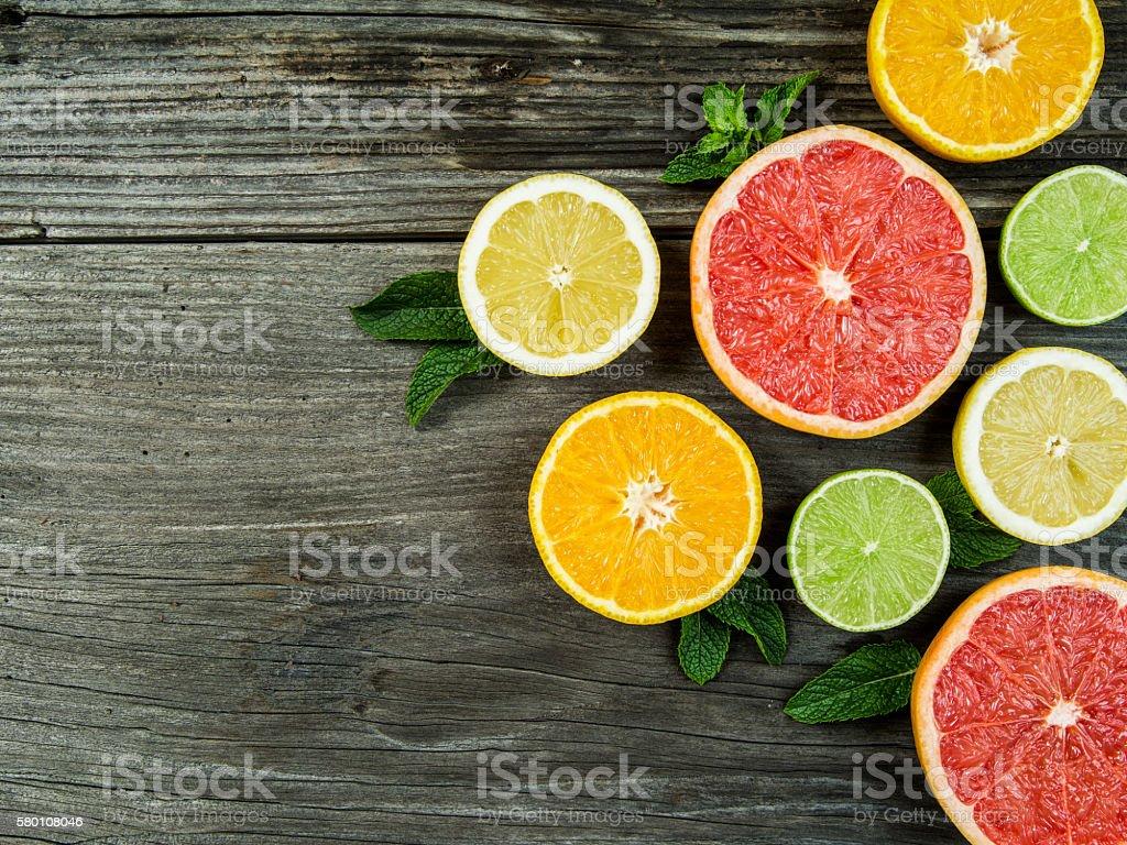 Fruit on rustic wood background stock photo