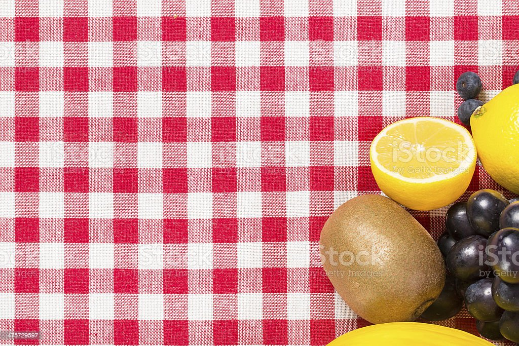 fruit on tablecloth textile royalty-free stock photo