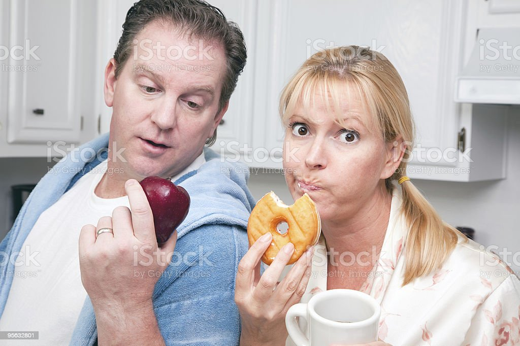 Fruit or Donut Healthy Eating Decision royalty-free stock photo