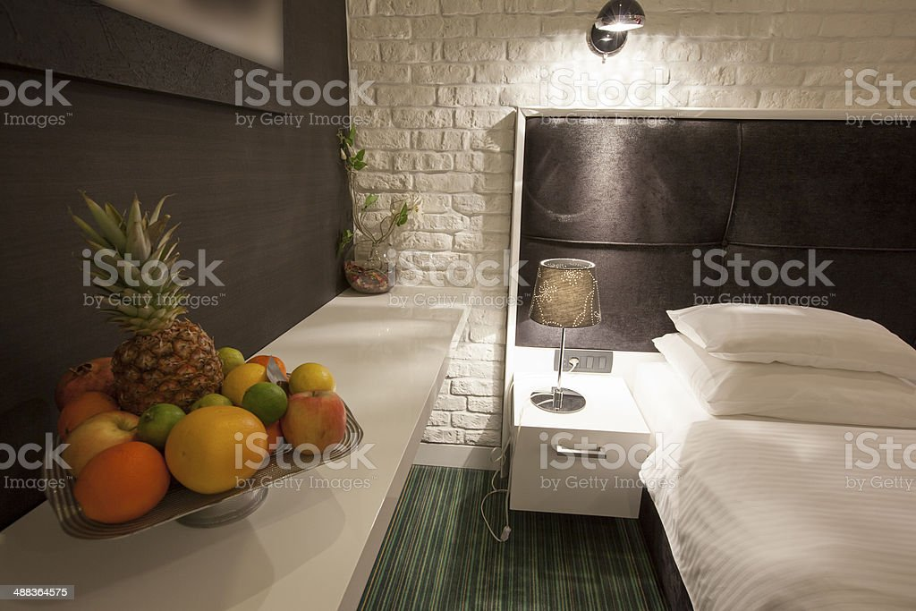 Fruit plate in hotel room royalty-free stock photo