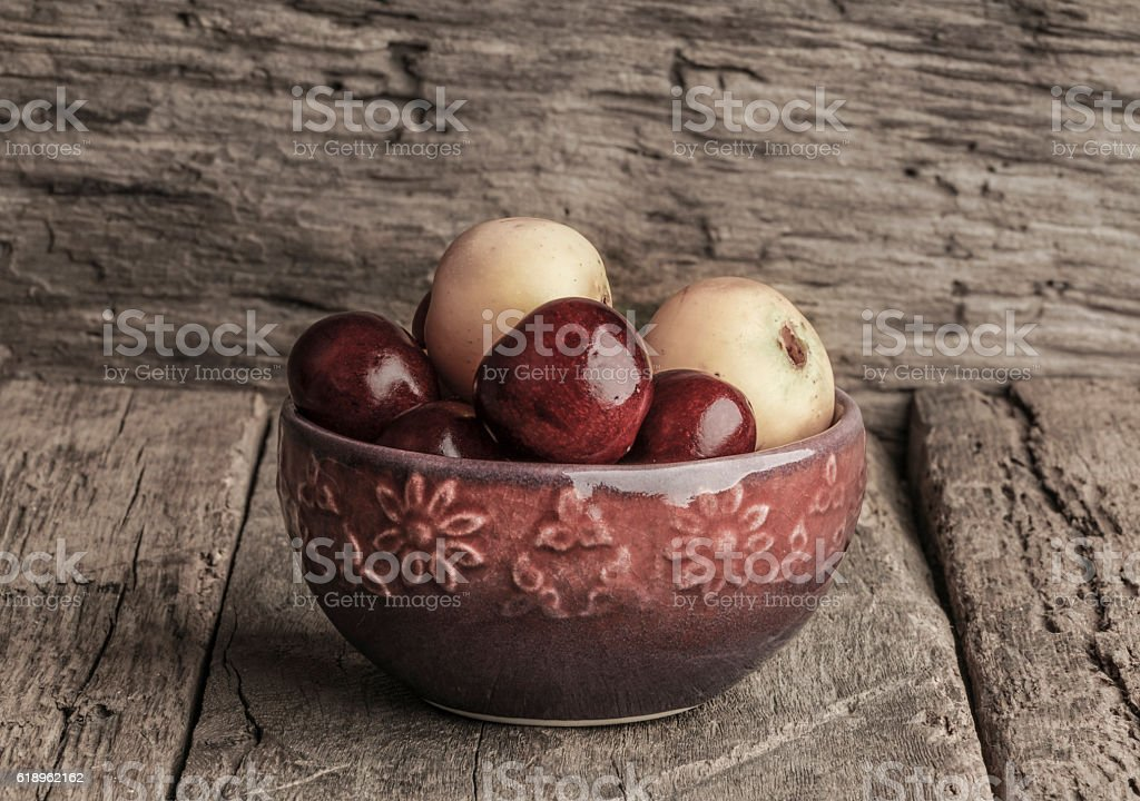 fruit plate on wooden table stock photo