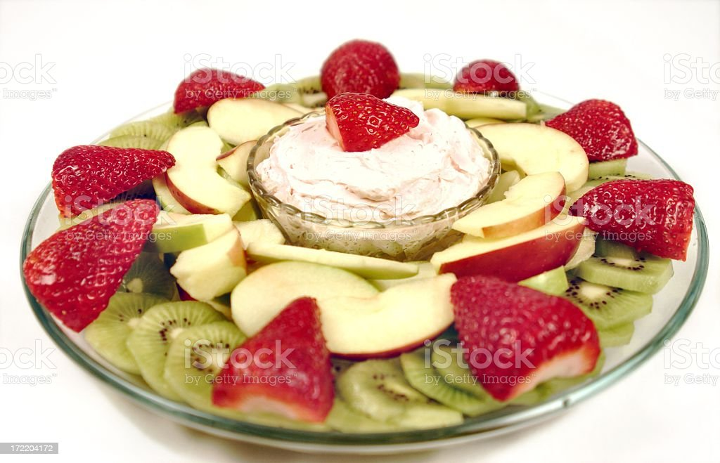 Fruit Plate series with kiwi, strawberries, apples and dip royalty-free stock photo