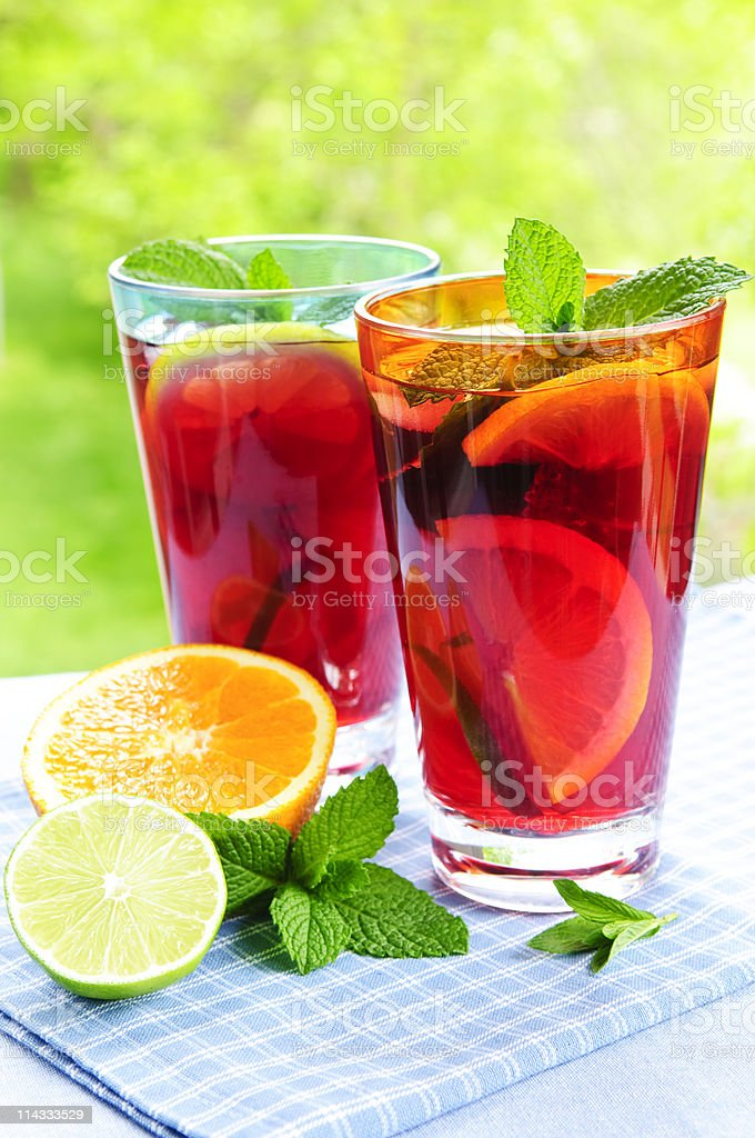 Fruit punch in glasses royalty-free stock photo