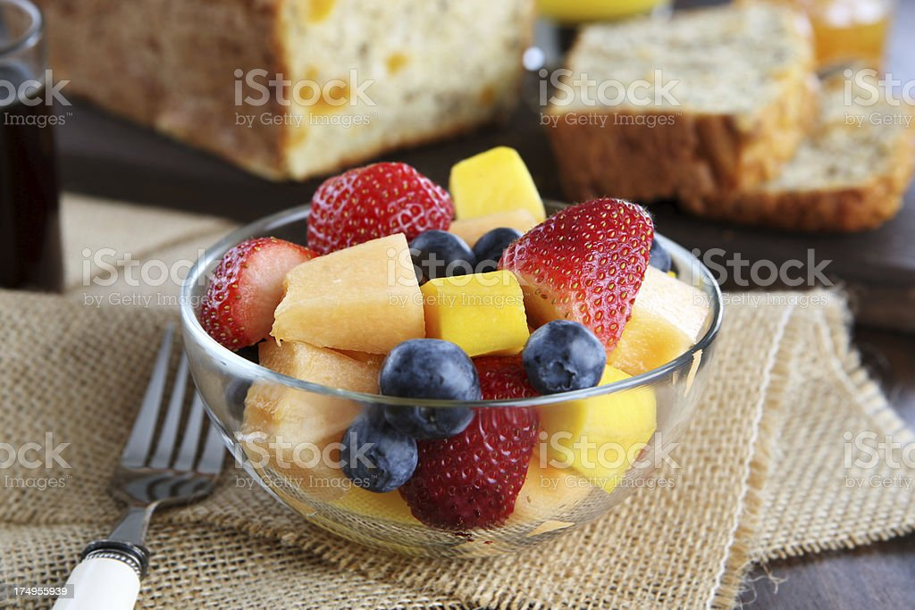 fruit salad and apricot bread royalty-free stock photo